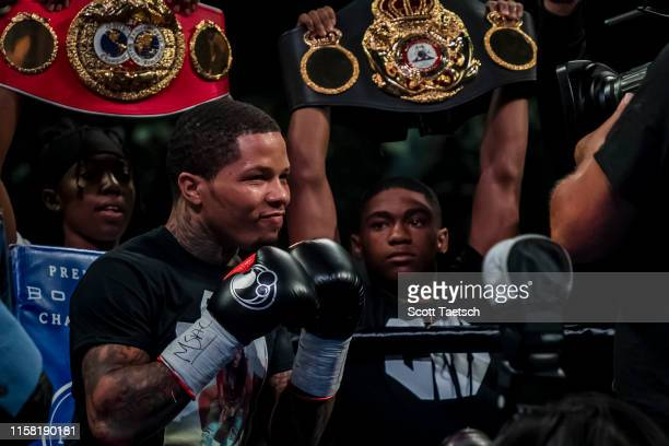 Gervonta Davis is announced before his WBA super featherweight championship fight against Ricardo Nunez at Royal Farms Arena on July 27, 2019 in...