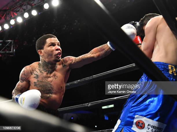Gervonta Davis knocks out Hugo Ruiz in the first round of their WBA Super Featherweight Championships fight at StubHub Center on February 9, 2019 in...