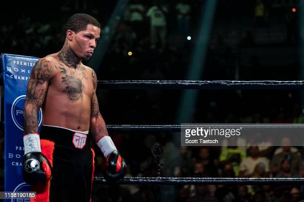 Gervonta Davis looks across the ring before his WBA super featherweight championship fight against Ricardo Nunez at Royal Farms Arena on July 27,...