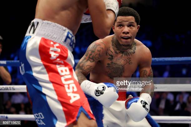 Gervonta Davis looks at Francisco Fonseca during their junior lightweight bout on August 26, 2017 at T-Mobile Arena in Las Vegas, Nevada.