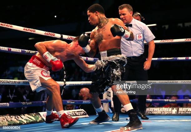 Gervonta Davis of The United States knocks down Liam Walsh of England leading to victory in the IBF World Junior Lightweight Championship match at...