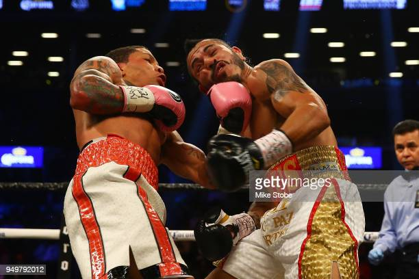 Gervonta Davis punches Jesus Cuellar during their WBA Super Featherweight Championship bout at Barclays Center on April 21, 2018 in New York City.