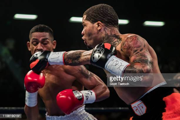 Gervonta Davis punches Ricardo Nunez during the first round of their WBA super featherweight championship fight at Royal Farms Arena on July 27, 2019...