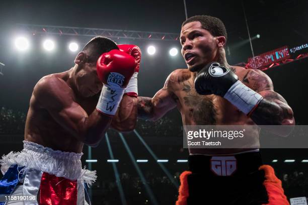 Gervonta Davis punches Ricardo Nunez during the second round of their WBA super featherweight championship fight at Royal Farms Arena on July 27,...