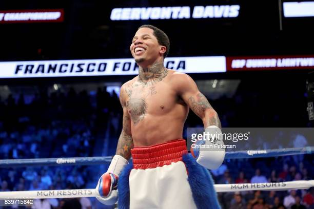 Gervonta Davis smiles at Francisco Fonseca during their junior lightweight bout on August 26, 2017 at T-Mobile Arena in Las Vegas, Nevada.