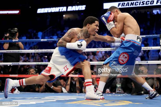 Gervonta Davis throws a punch at Francisco Fonseca during their junior lightweight bout on August 26 2017 at TMobile Arena in Las Vegas Nevada