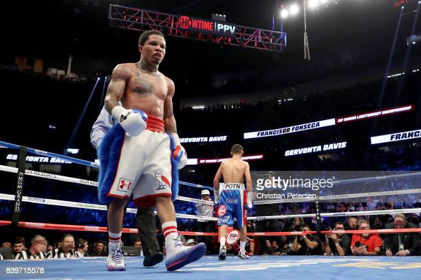 Gervonta Davis walks to his corner against Francisco Fonseca during their junior lightweight bout on August 26, 2017 at T-Mobile Arena in Las Vegas,...