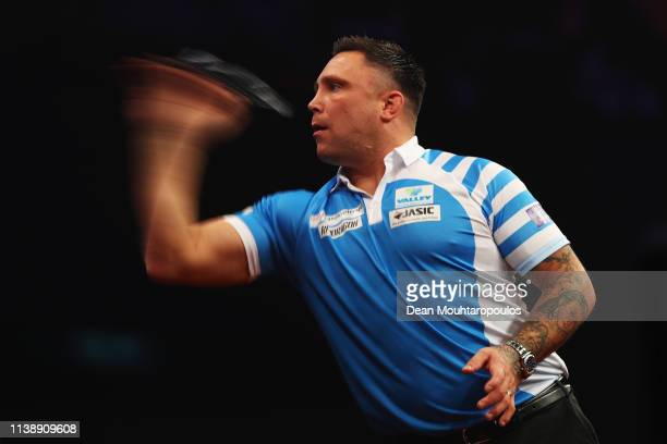 Gerwyn Price of Wales competes against Peter Wright of Scotland during day two of the 2019 Unibet Premier League Darts on March 28 2019 at the Ahoy...