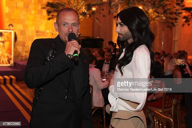 Gery Keszler and Conchita Wurst attend the AIDS Solidarity Gala at Hofburg Vienna on May 16 2015 in Vienna Austria