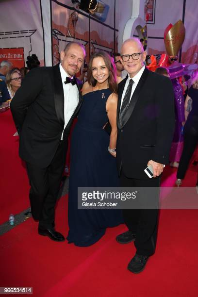 Gery Keszler founder Life Ball Alexandra S Roedy and Bill Roedy Chairman amfAR during the Life Ball 2018 at City Hall on June 2 2018 in Vienna...