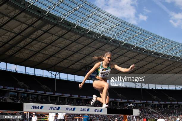 Gesa Krause competes during 3000 m steeplechase Final at German National Championship in Athletics on August 04, 2019 in Olympiastadion in Berlin,...