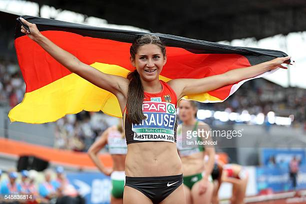 GesaFelicitas Krause of Germany celebrates winning gold in the final of the womens 3000m steeplechase on day five of The 23rd European Athletics...