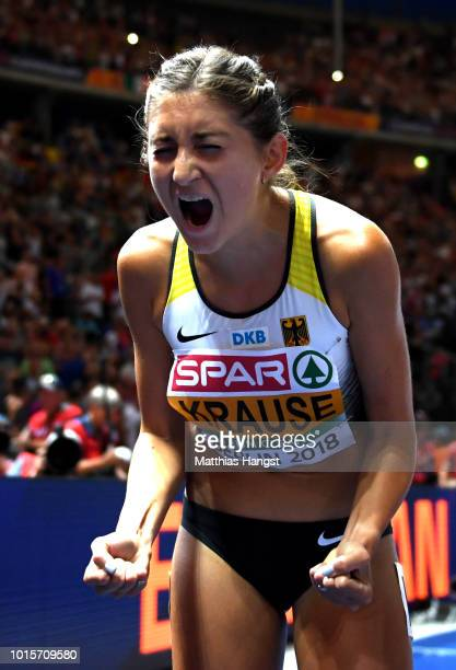 Gesa-Felicitas Krause of Germany celebrates winning gold in the Women's 3000 metres steeplechase final during day six of the 24th European Athletics...