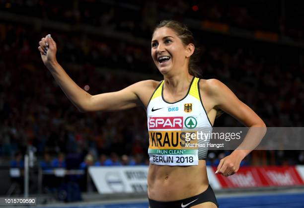 GesaFelicitas Krause of Germany celebrates winning gold in the Women's 3000 metres steeplechase final during day six of the 24th European Athletics...