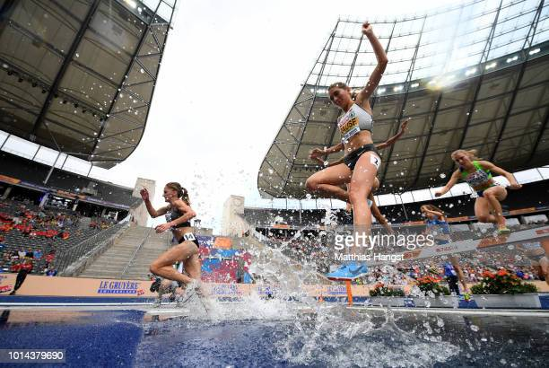 GesaFelicitas Krause of Germany clears the water jump in the Women's 3000 metres steeplechase during day four of the 24th European Athletics...