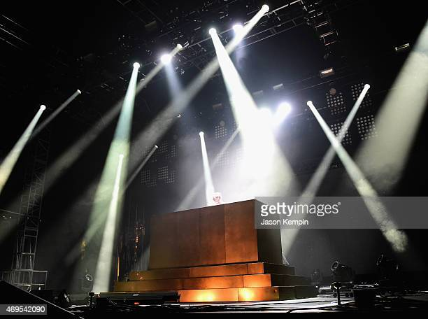 Gesaffelstein performs onstage during day 3 of the 2015 Coachella Valley Music & Arts Festival at the Empire Polo Club on April 12, 2015 in Indio,...