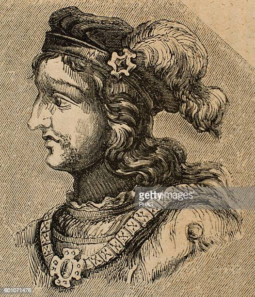 Gesalec King of the Visigoths from 507511 and died in 513 Illegitamate son of Alaric II Portrait Engraving