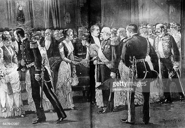 Gesellschaftliches Ereignis, Empfang im White House bei Präsident Grover ClevelandInnenansicht, zeitgenössische Darstellung undatiert