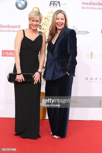 Gesine Cukrowski and Ann Kathrin Kramer during the Lola German Film Award red carpet at Messe Berlin on April 27 2018 in Berlin Germany