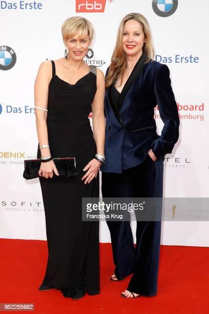 Gesine Cukrowski and AnnKathrin Kramer attend the Lola German Film Award red carpet at Messe Berlin on April 27 2018 in Berlin Germany