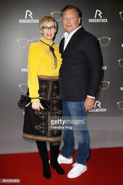 Gesine Cukrowski and Oliver Kastalio CEO Rodenstock during the Rodenstock Eyewear Show on January 12 2018 in Munich Germany