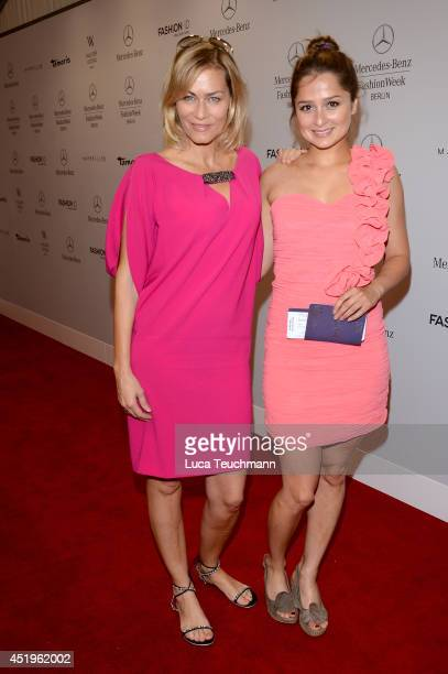 Gesine Cukrowski and Sarah Alles attend the Laurel show during the MercedesBenz Fashion Week Spring/Summer 2015 at Erika Hess Eisstadion on July 10...