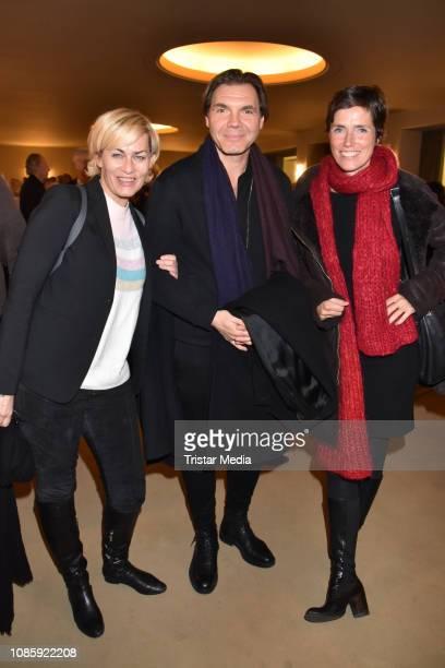 Gesine Cukrowski Max Hopp Julia Bremermann during the 'Hase Hase' theatre premiere at Komoedie am Kurfuerstendamm at Schillertheater on January 20...