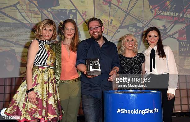 Gesine Cukrowski Tessa Mittelstaedt Maximilian Niemann Karin Schrader and Mina Tander attend the Shocking Shorts Award 2015 during the Munich Film...