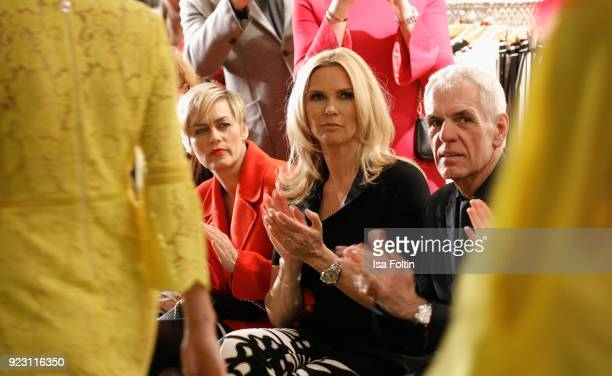 Gesine Cukrowski Veronica Ferres and Norbert Lock attend the KaDeWe X Marc Cain Fashion Show Spring/Summer Collection 2018 at KaDeWe on February 22...