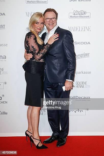 Gesine Schoenherr and Wolfgang Lippert attend Madeleine at Goldene Henne 2014 on October 10 2014 in Leipzig Germany