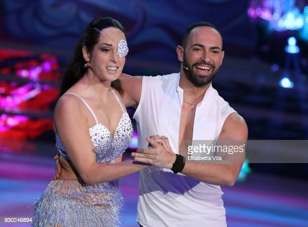 Gessica Notaro and her dance partner Stefano Oradei perform on the Italian TV show 'Ballando Con Le Stelle' at RAI Auditorium on March 10 2018 in...