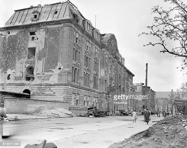 Gestapo headquarters in Berlin Germany was severly damaged by the Allies In the background is a museum July 16 1945