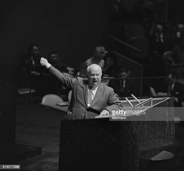 Gesturing and shouting, Soviet Premier Nikita Khrushchev addresses the United Nations General Assembly, October 12th. The Soviet Premiere rose on a...