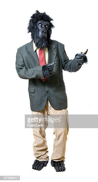 gesturing gorilla business man - monkey suit stock pictures, royalty-free photos & images