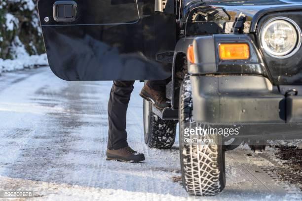 Get on board by car on winter mountain roads