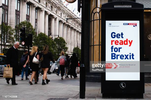 A 'Get ready for Brexit' sign part of a huge government advertising campaign launched ahead of Britain's scheduled October 31 departure from the EU...