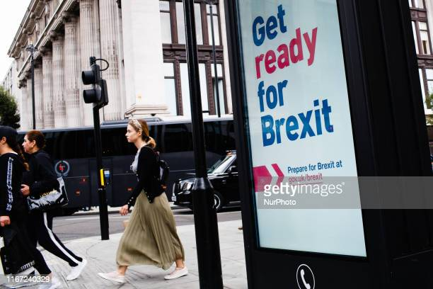 Get ready for Brexit' sign, part of a huge government advertising campaign launched ahead of Britain's scheduled October 31 departure from the EU,...