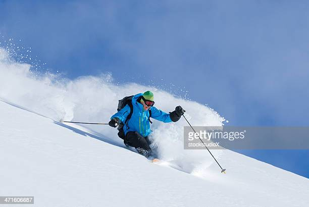 get some fresh powder - powder snow stock pictures, royalty-free photos & images