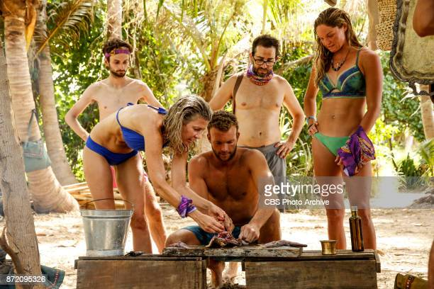 'Get to Gettin'' Ryan Ulrich Chrissy Hofbeck John 'JP' Hilsabeck Mike Zahalsky and Ashley Nolan on the seventh episode of SURVIVOR 35 themed Heroes...