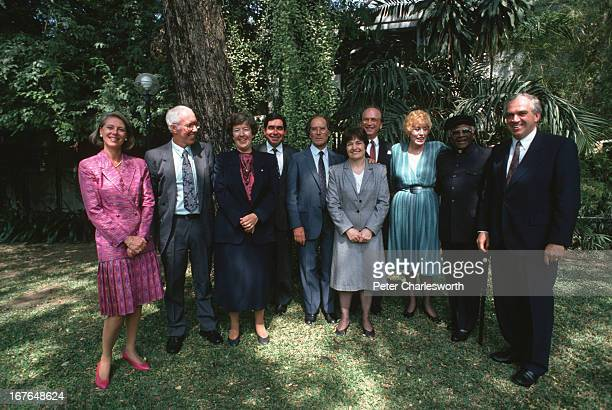 A get together of Nobel Laureates in the garden of the Canadian Embassy in Bangkok They are gathered in Bangkok to give support to one of their...