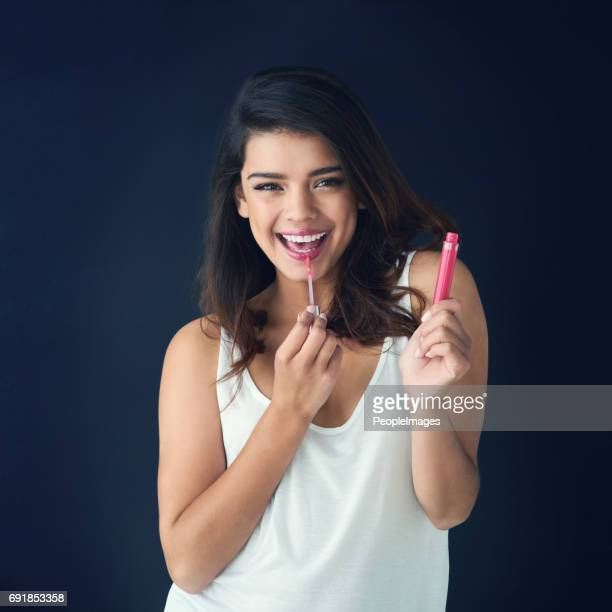 get your gloss on - pink lipstick stock photos and pictures