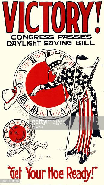 'Get Your Hoe Ready' Government poster from 1918 showing Uncle Sam turning clock to daylight saving time