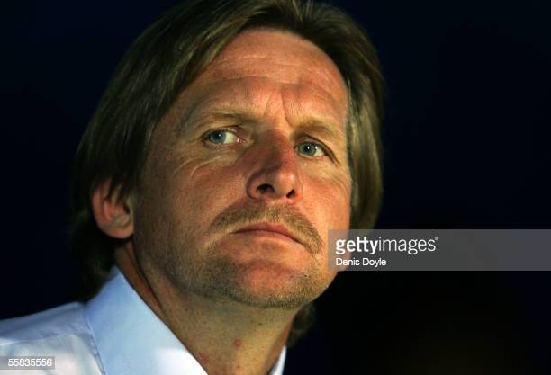 Getafe coach Bernd Schuster of Germany peers from the players tunnel moments before a La Liga match between Getafe and Valencia at the Coliseum...
