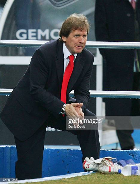 Getafe manager Bernd Schuster of Germany watches his team during the La Liga match between Getafe and Valencia at the Coliseum Alfonso Perez stadium...