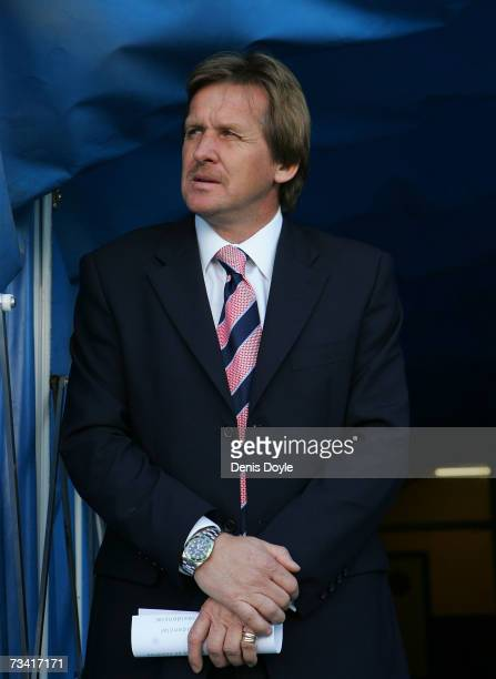 Getafe manager Bernd Schuster waits at the tunnel entrance before the Primera Liga match between Getafe and Sevilla at the Coliseum Alfonso Perez...