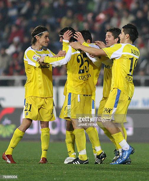 Getafe players celebrate after scoring against Mallorca during a King's Cup football match at the Ono stadium in Palma de Mallorca, 30 January 2008....
