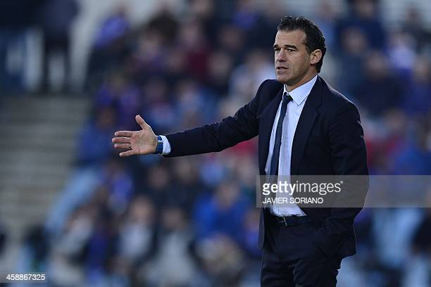 Getafe's coach Luis Garcia Plaza gestures during the Spanish league football match Getafe vs Barcelona at Coliseum Alfonso Perez stadium in Getafe...
