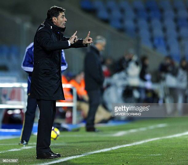 Getafe's coach Michel gestures during a Spanish King's Cup second leg football match against Mallorca at Alfonso Perez stadium on January 28 in...