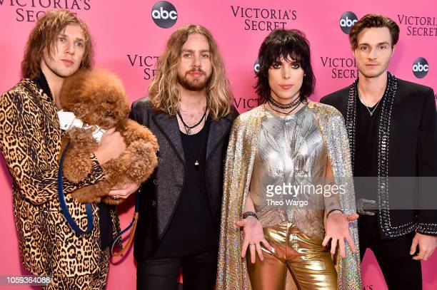 Gethin Davies Adam Slack Luke Spiller and Jed Elliott of The Struts attend the Victoria's Secret Fashion Show at Pier 94 on November 8 2018 in New...