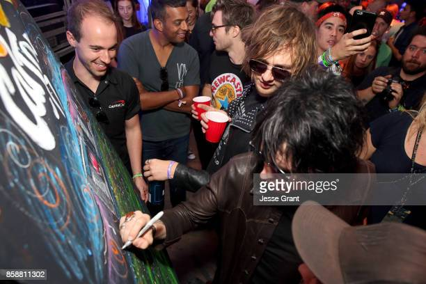 Gethin Davies and Luke Spiller of The Struts at the Capital One Cardholder Lounge during Cal Jam 17 at Glen Helen Regional Park on October 7 2017 in...